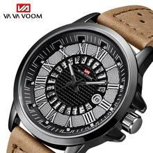 Va Va Voom Roman Digital Calendar Men's Sports Quartz Watch Leather Band Analog Military Outdoor Wrist Watch TZEW0014 все цены