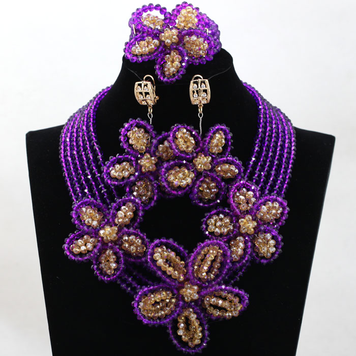 Handmade! Gold Mix Purple Traditional Wedding Beads Jewelry Set Flower Crystal Statement Necklace Set Free Shipping HX830Handmade! Gold Mix Purple Traditional Wedding Beads Jewelry Set Flower Crystal Statement Necklace Set Free Shipping HX830