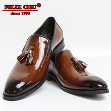 Luxury Leather Shoes Men Slip On Anti-skid Tassel Loafers Patent Brown Black Office Casual