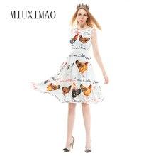 84947ebe0 2018 primavera y verano nueva moda A-Line o-cuello sin mangas Tank pollo  carta impresión elegante por encima de vestido de rodil.