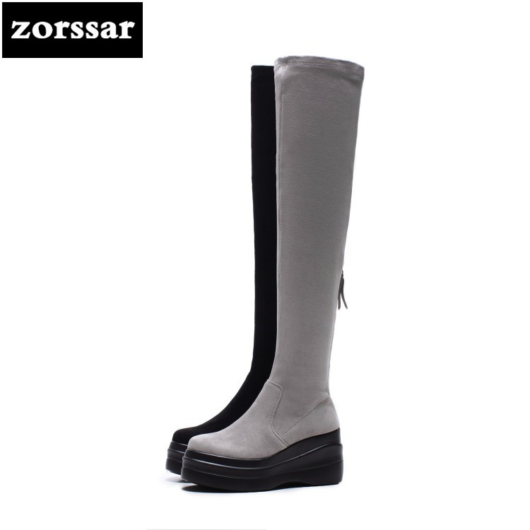 {Zorssar} 2018 New Warm Snow Boots Women Over the knee boots High heels platform shoes Suede leather Winter woman shoes{Zorssar} 2018 New Warm Snow Boots Women Over the knee boots High heels platform shoes Suede leather Winter woman shoes