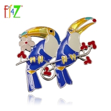 Brooches-Pins Enamel Costume Gift Fashion Two F.J4Z Stunning Parrot Alloy Party-Show