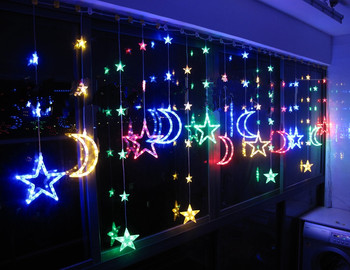LED Christmas lights restaurant curtains partition window decoration balcony color stars moon curtain lights, long 4M,high 1.1M