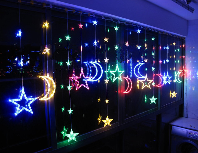 Led Christmas Lights Restaurant Curtains Parion Window Decoration Balcony Color Stars Moon Curtain Long 4m High 1 1m