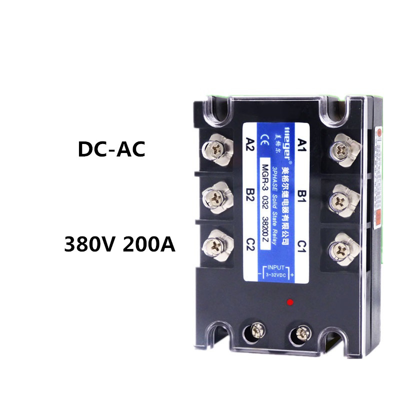 Three-phase solid state relay 380V 200A MGR-3 SSR 032 38200Z free shipping 1pc high quality 200a mager ssr mgr 3 032 38200z dc ac three phase solid state relay dc control ac 200a 380v