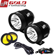 A pair GOLDRUNWAY 30IX motorcycle led head spotlight 3*U3 led chip 30W 3000lumens 3mode waterproof LED motorcycle led light(China)