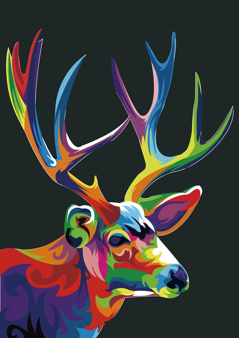 Dekorace pro domácí kancelář Obývací pokoj Umělecká výzdoba HD Výtisky Zvířecí Barva Jelen Král Olejomalba Obrazy Vytištěné na plátně