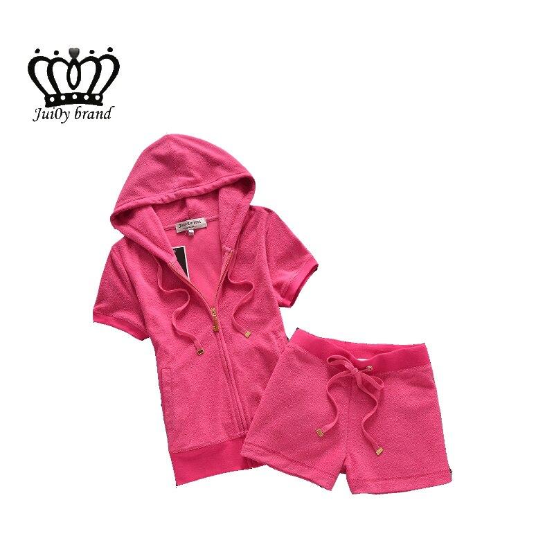 الصيف عارضة الإناث Sportsuit المرأة هوديس قمم و سراويل قصيرة تراكسويت S XL للبنات حلوة-في مجموعات نسائية من ملابس نسائية على  مجموعة 1