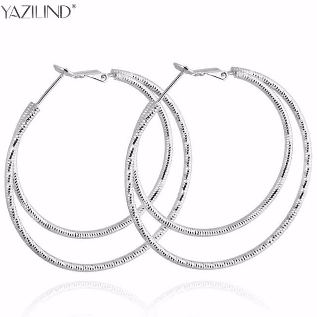 fdb2155a3 Big Round Earrings Basketball Wives Trendy Silver Color Fashion Jewelry  Wholesale Diameter Large Hoop Earrings Women