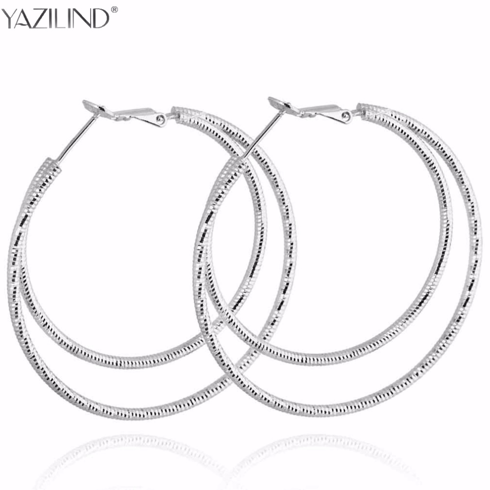 Big Round Earrings Basketball Wives Trendy Silver Color Fashion Jewelry Wholesale Diameter Large Hoop Earrings Women