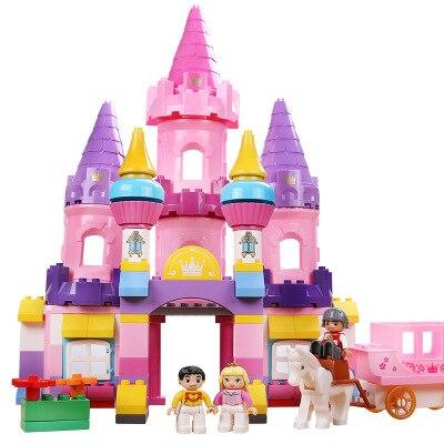 Blocs de grande taille pour bébé briques de château rose Compatible duplo figurines princesse rêve château blocs de construction briques duplo pour enfant