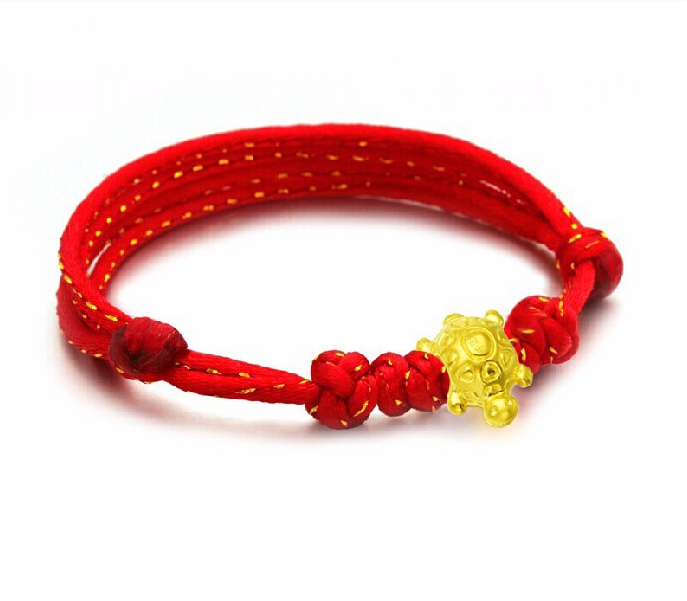 Fashion New Arrival 3D 999 24K Yellow Gold Cute Tortoise knitted Bracelet hot sale new arrival 999 24k yellow gold monkey knitted bracelet