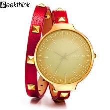 GEEKTHINK Top Luxury Fashion Brand Quartz Watch Women Lady's Retro Rivet Leather Bracelet Strap Dress Wrsitwatch Gift Designer