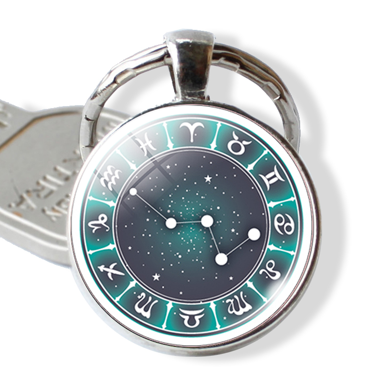 November December Sagittarius Constellation Leather Metal Key Chain Ring Car Keychain Gift