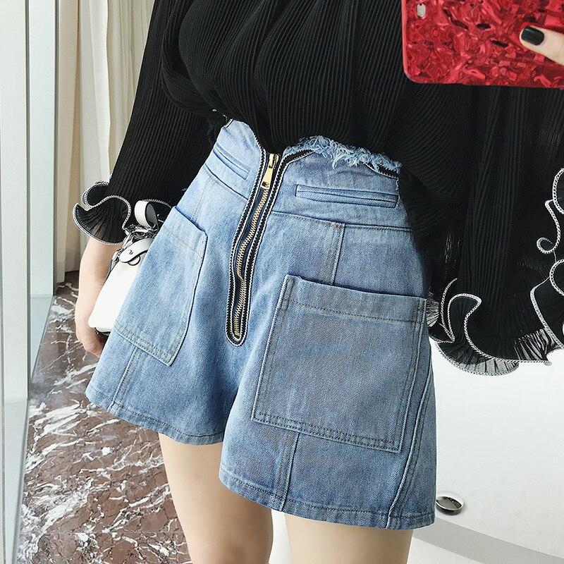 Waist Leg 2018 Irregular High Shorts Wide Edgy Zipper xwWanx4