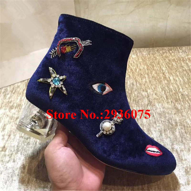 Botas Blue Velvet Mixed Color Crystal Embroidery Women Ankle Boots Pearl Star Clear Perspex Block Heels Botas Mujer Shoes Woman