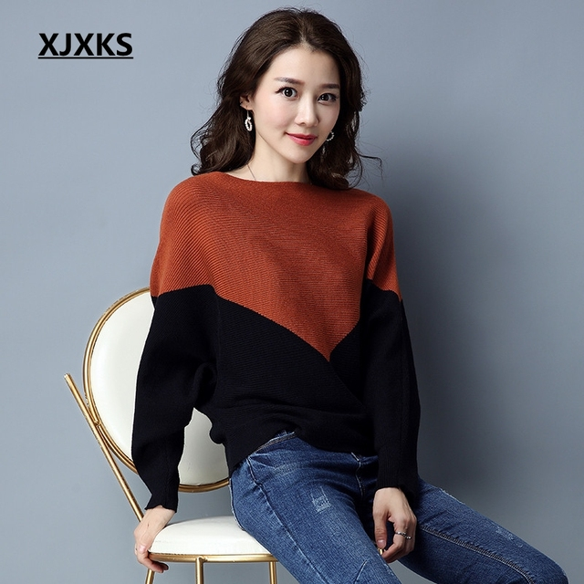 XJXKS Loose style ulzzang young ladies women slash neck sweater patchwork  fashion 2019 new sale warm fc9a9018f