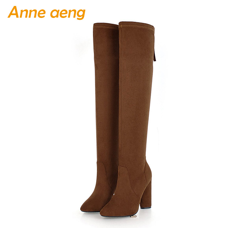 New Spring/Autumn Women Over-The-Knee Boots High Heel Pointed Toe Zipper Sexy Ladies Women Shoes Thigh High Boots Big Size 33-46 hot 2017 new fashion sweet womens high boots spring autumn ladies over the knee boots casual women boots for women t26 1