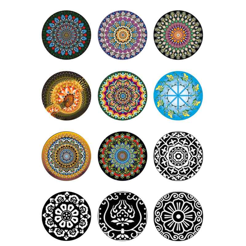 10mm 12mm 14mm 16mm 20mm 25mm 406 12pcs lot Pattern Mix Round Glass Cabochon Jewelry Finding 18mm Snap Button Charm Bracelet in Jewelry Findings Components from Jewelry Accessories