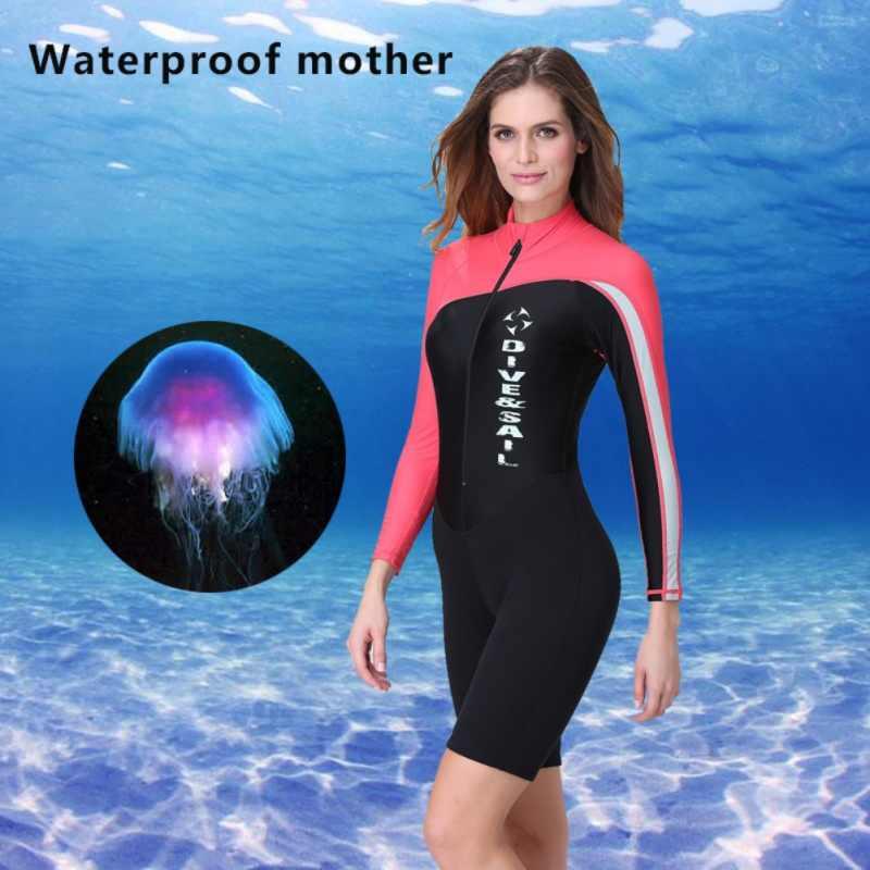 Pria Wanita Perlindungan Sinar UV Baju Lengan Panjang Zipper Depan Baju Renang Pakaian Renang Surfing K Berlaku untuk Menyelam