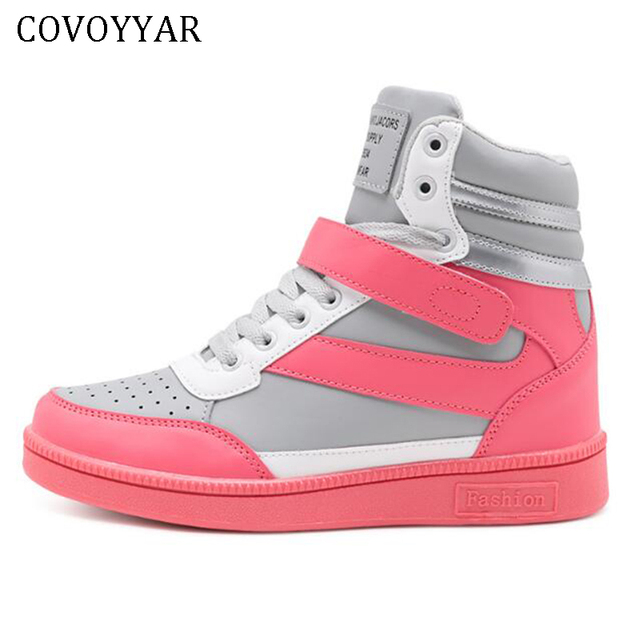 3f9d656659078 US $16.99 45% OFF|COVOYYAR 2019 Women Fashion Sneakers High Top Hook Loop  Lace Up Platform Casual Shoes Hidden Wedge Heel Shoes Woman WSN205-in ...