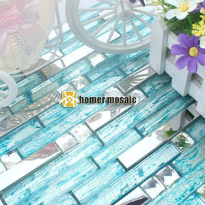 Stainless-Steel Fireplace Backsplash Crystal Mosaic Kitchen Blue Metal for Tiles Hallway