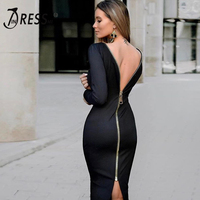 2016 New Arrival Solid Back Zipper Long Sleeve Bandage Winter Dress Mid Length Sexy Night Party