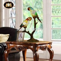 Parrots Table Lamps Lamparas Color Glass LED Table Lamp Hand Made Desk Lamp Light Lampe Deco for Living Room