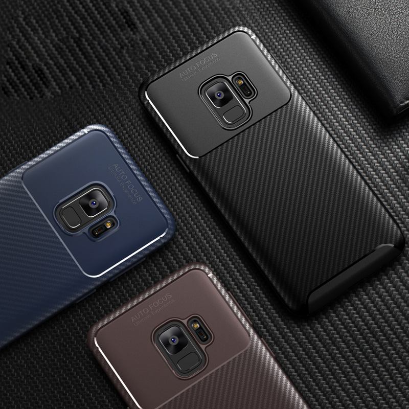 Carbon Fiber <font><b>Case</b></font> for <font><b>Samsung</b></font> Galaxy <font><b>S9</b></font> S10 Lite J4 Plus J6 Prime J3 J7 A6 A8 A7 2018 A750 A9 Star J2 Core Note 9 Silicone Cover image