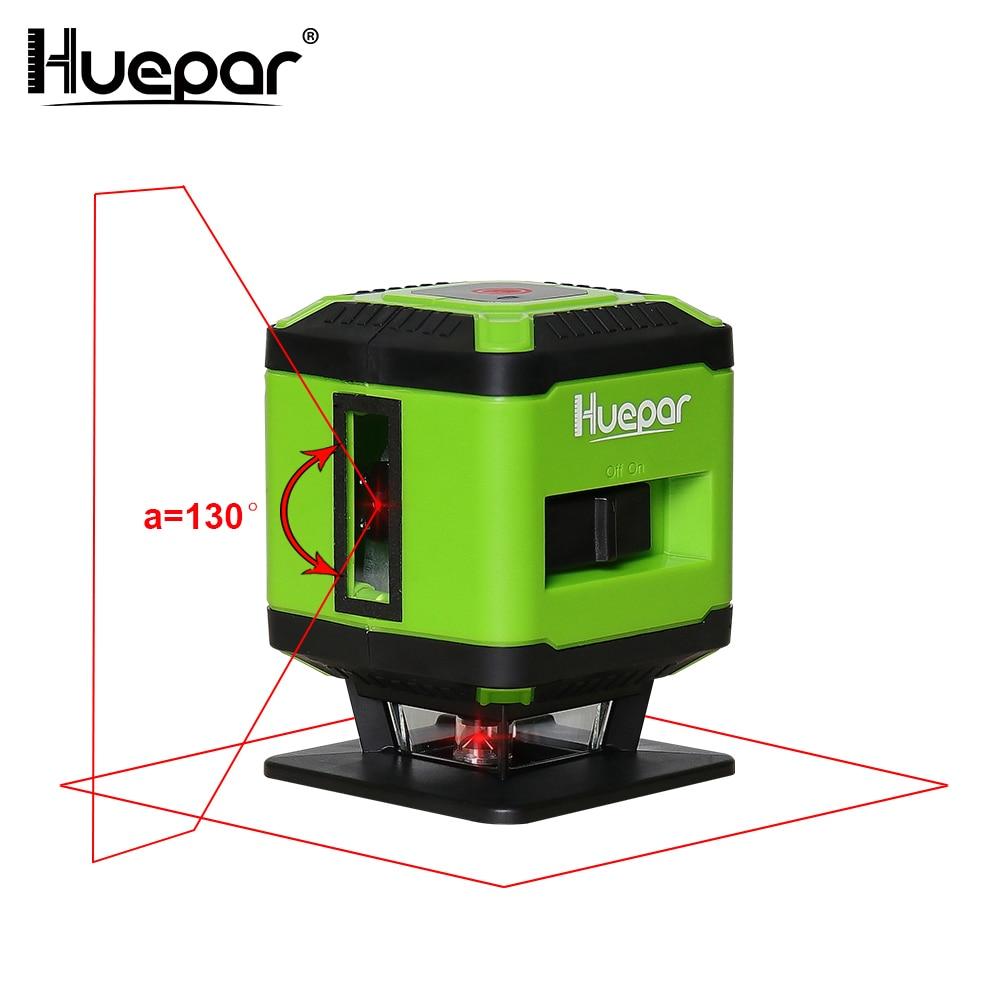 Huepar Rouge Faisceau Laser Au Sol Niveau pour Pose De Carrelage Carré Nivellement, croix Ligne Laser 360 Degrés Couverture Horizontale Ligne FL360R