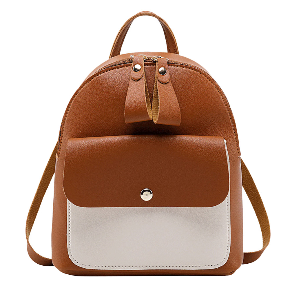 Women Backpack Solid Color PU Adjustable Strap Crossbody Bag Casual for Shopping OH66