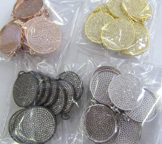 6pcs 28mm CZ Micro Pave Beads Spacer Beads roundel disc Micro Pave Disc Connector CZ Pave Connector Charm silver rose gold gunme