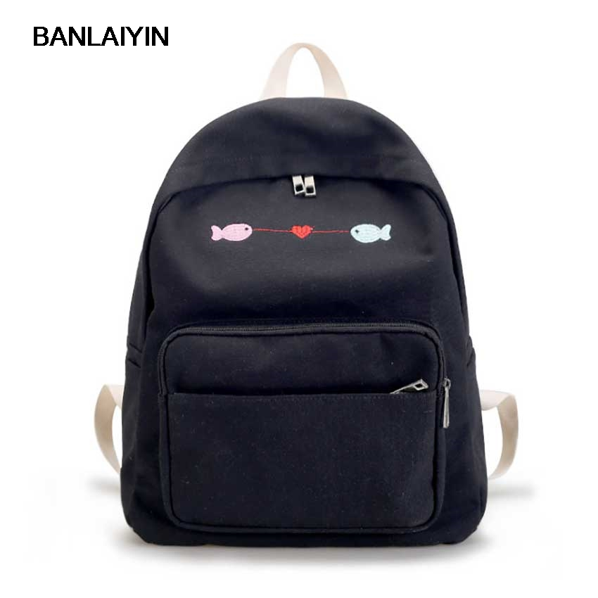 Women Embroidery Fish Canvas Solid Color Backpacks High School Bags For Teenagers Students Girls Casual Travel