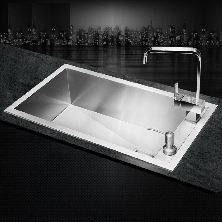SUS304 Нержавеющей Стали кухонная раковина одного отверстия под горой ручной мойки поверхности щеткой дешевые хорошее качество