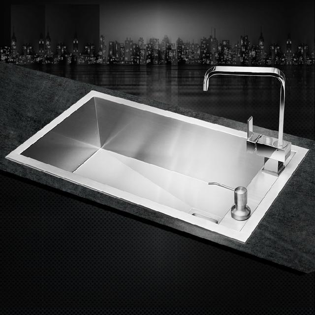 SUS304 Stainless Steel kitchen sink single holes under mount hand ...