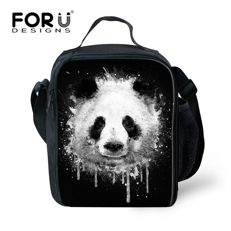 FORUDESIGNS Cute Printing Animal Panda Lunch Bag for Women 3d Teen Girls Food Bag Insulated Kids Lunch Box for School Picnic Bag