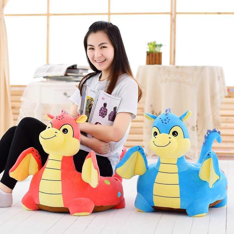 Grande cerca de 54x45 cm encantador dos desenhos animados do dinossauro de pelúcia almofada do assento para crianças brinquedo de pelúcia sofá tatami assento chão w5281