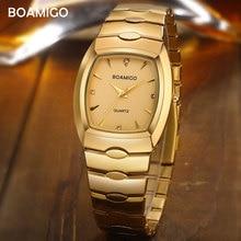 Boamigo erkekler saatler lüks moda quartz saat altın paslanmaz çelik taşınabilir iş kol saati erkek saat relogio masculino