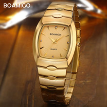 boamigo men watches luxury fashion quartz watch gold stainless steel portable business wristwatch  male clock relogio masculino