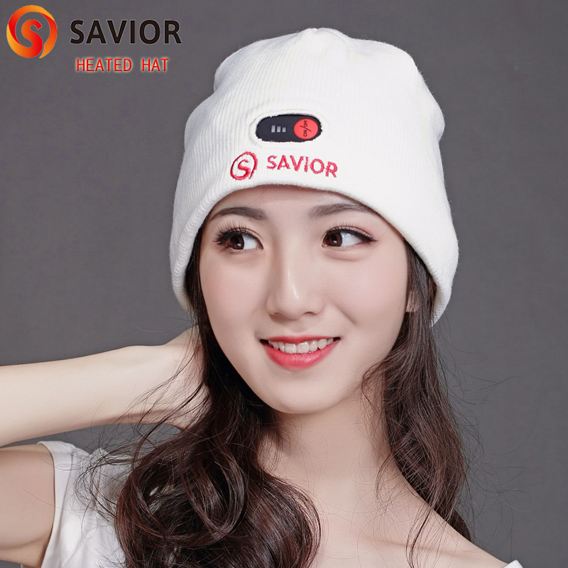 Savior winter heated hat Li-ion 7.4V white cap smart 3 levels controller electric heating keep warm men and women electric heating heated down vest for skiing hiking camping winter men vest keep body warm for women and men with batteries