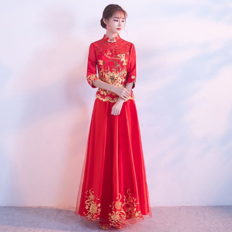 Women Red Chinese Traditional Dress Ancient Wedding Costume Lady Cheongsam Party Retro Qipao Dress Stage Performance Clothing