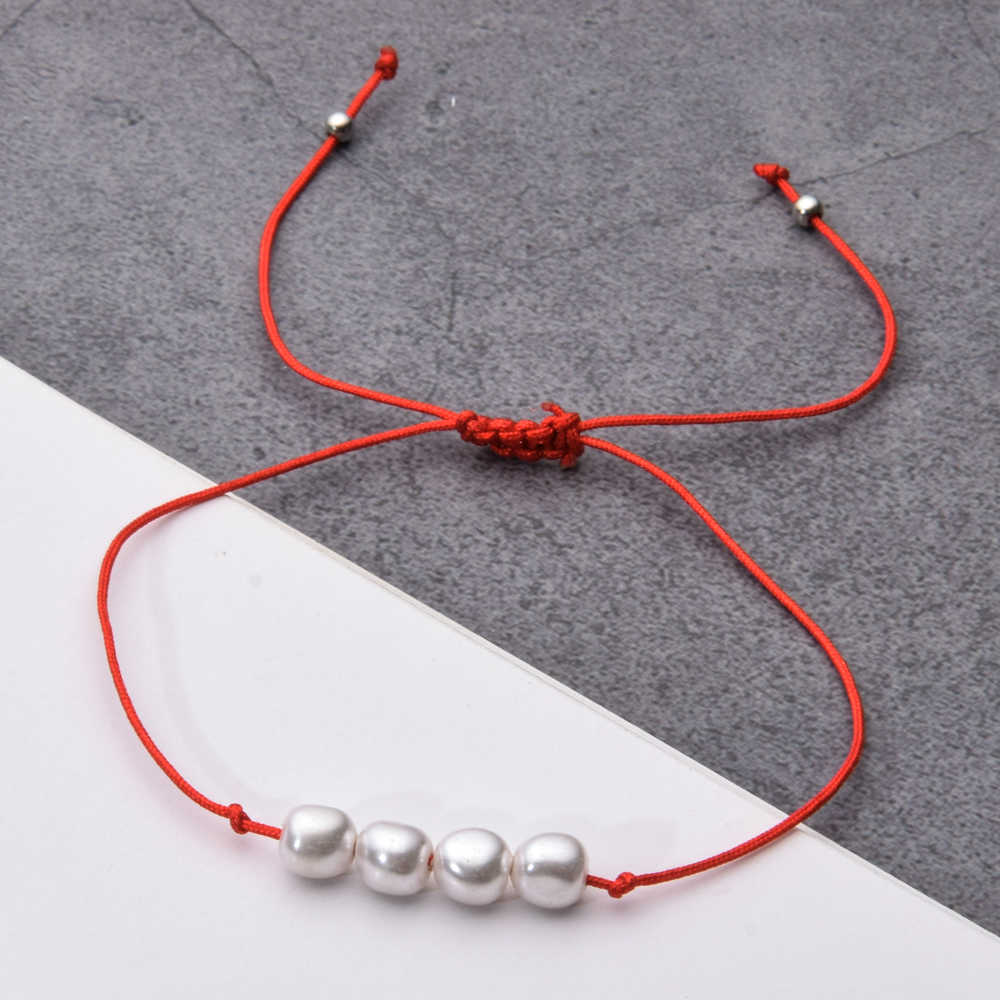 Romantic 12pcs/Sets Round Pearl Bead Charms Bracelet Women Braided Adjustable Rope Chain Anklet Handmade Wedding Party Jewelry