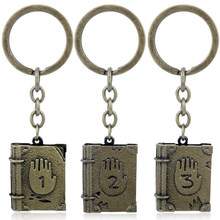 HANCHANG Gravity Falls: Journal 3 Keychain 1/2/3 key chain Bronze Plated Metal key ring Retro Accessories chaveiro(China)