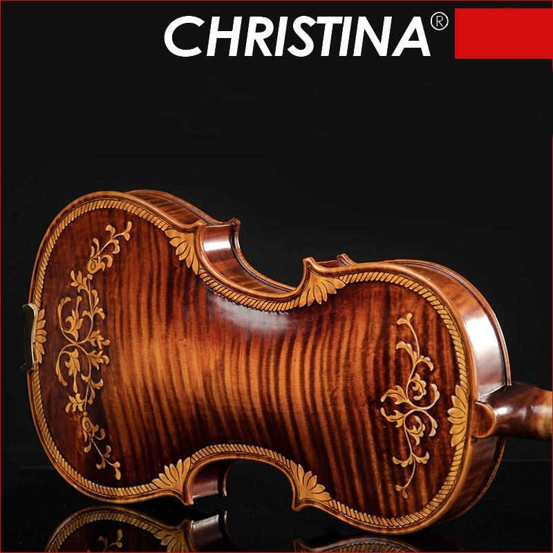 Christina E07-carved Violin 4/4 Advanced Italy Handmade Violin Antique Spruce Wood Violino Musical Instrument,violin Case,rosin