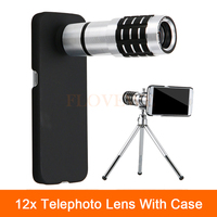 New 12x Zoom Optical Telescope Telephoto Lens For iPhone 4 4s 5 5s 6 6s 7 Plus Cases Phone Camera Lenses Kit With Clips Tripod