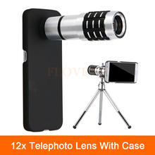 Wholesale prices New 12x Zoom Optical Telescope Telephoto Lens For iPhone 4 4s 5 5s 6 6s 7 Plus Cases Phone Camera Lenses Kit With Clips Tripod