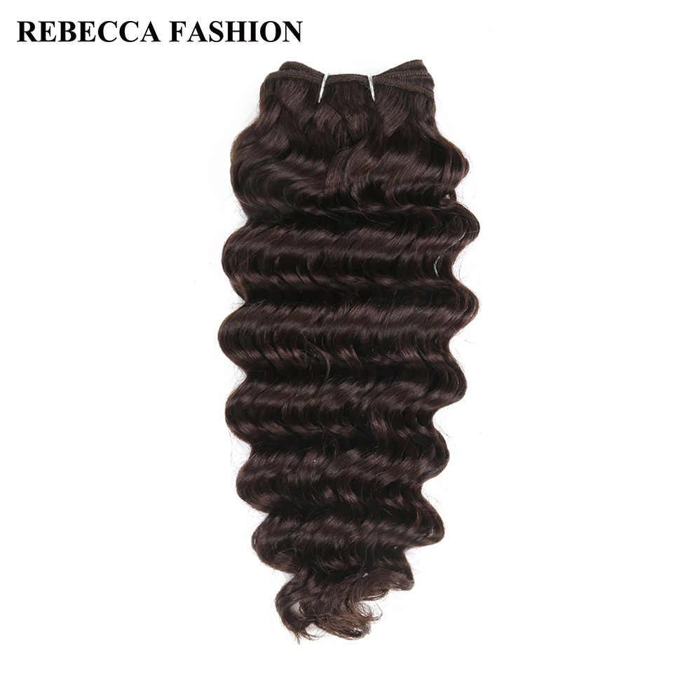 Rebecca Remy Human Hair Deep Wave Brazilian Hair Weave Bundles 100g Natural Black Brown For Salon Extensions 1# 1b# 2# 4#
