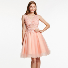 Dressv коктейльное платье с аппликацией розовое v образным вырезом без рукавов длиной до колена ТРАПЕЦИЕВИДНОЕ вечернее платье с вышивкой бисером женские короткие коктейльные платья для выпускного вечера