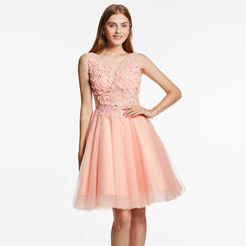 Dressv appliques cocktail dress pink v neck sleeveless knee length a line beading gown lady homecoming short cocktail dresses - DISCOUNT ITEM  45% OFF All Category