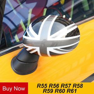 2pcs Door Rear View Mirror Covers Stickers Car-styling For Mini Cooper S Clubman Countryman Paceman R55 R56 R57 R58 R59 R60 R61(China)